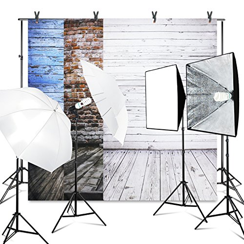 LimoStudio (8.5x10 ft.) Photo Video Studio Backdrop Support System Kit, Vintage Wood Floor Background Screen(Blue, Brick Wall, White), 800W 5500K Umbrella Softbox Continuous Lighting Kit, AGG2634_V2 by LimoStudio