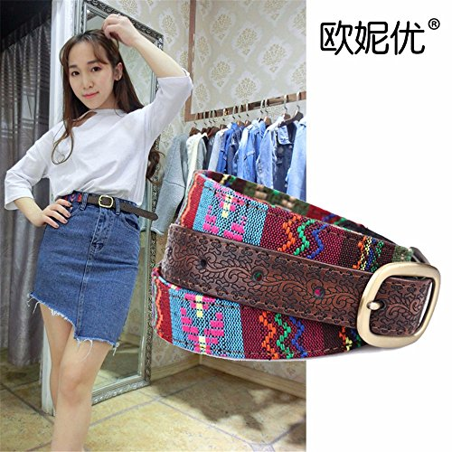 SAIBANGZI Ms Women All Seasons Belt Casual Jeans Belt Fine Fabric Fashion Decorative Belt Girlfriend Present Brown 82-92Cm by SAIBANGZI (Image #6)