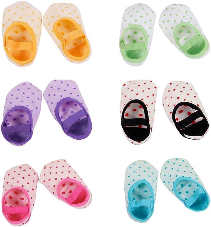 CHIC-CHIC 6 Paires Chaussettes B/éb/é Fille Gar/çon Souple Blanc Sport Baby Motif Pois Mignon Chaussure Souple Antid/érapant 6-36Mois//12cm
