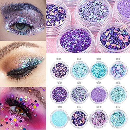 12pots Mermaid Half Pearls Star Sequins Glitters Diamand Multi-Functional Nail Art Decorations Set