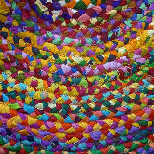 fair trade geflochten rund chindi recycelte baumwolle rag teppiche 60 x 60 ebay. Black Bedroom Furniture Sets. Home Design Ideas