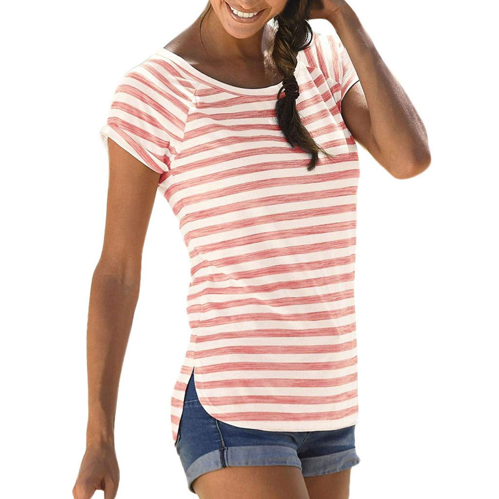 Coco-Z Womens Summer Bohemian Casual O Neck Short Sleeve Striped Printed T Shirt Top Blouse