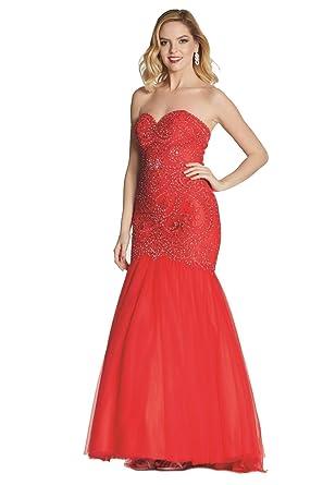 Tiffanys Illusion Prom Red Blondie Lace Net Fishtail Dress UK 14