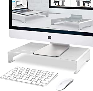 RAINBEAN Monitor Stand, Custom Size Monitor Riser/Computer Stand for Home Office Business w/Sturdy Platform, PC Desk Stand for Keyboard Storage & Multi-Media Laptop Printer TV Screen