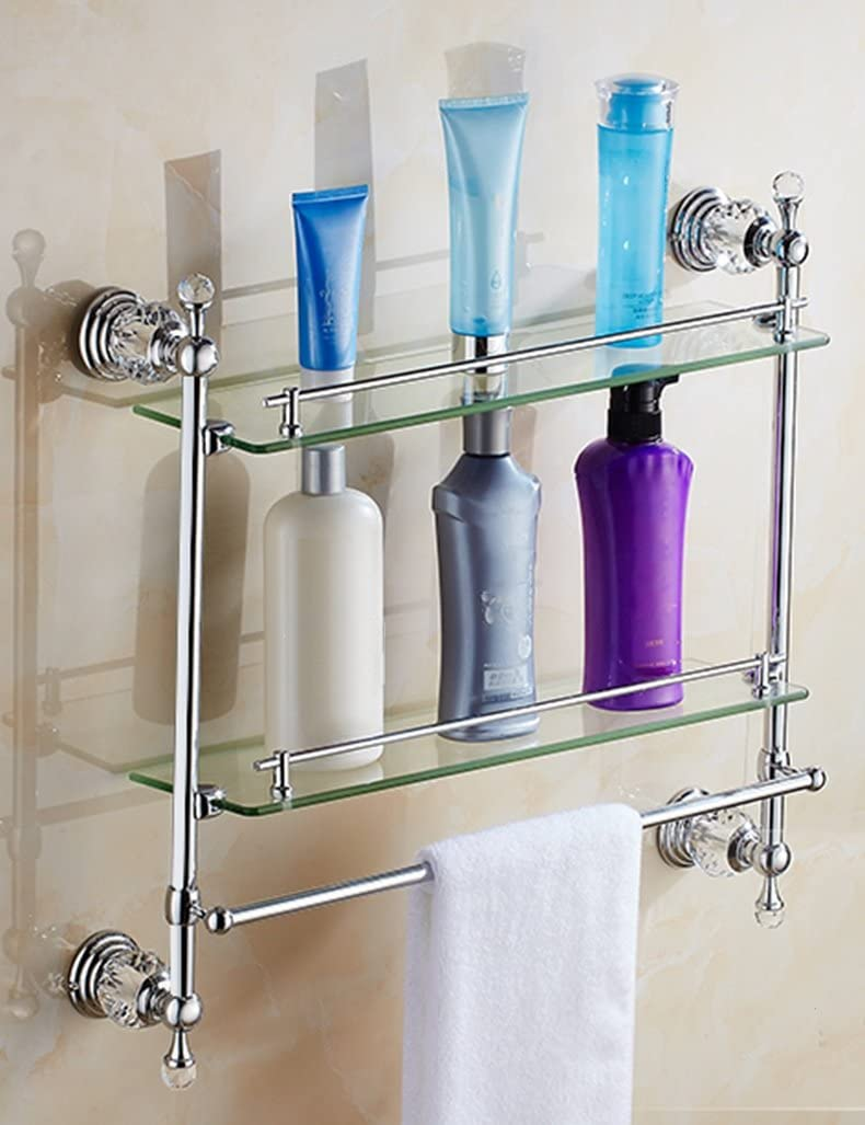 Extremely Firm Shower Shelf European Style Bathroom Glass Shelf Towel Rack Gold Color : 1 Plated Bathroom Accessories Crystal Towel Rack Mirror Front Frame ensuring quality