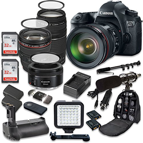 Canon EOS 6D 20.2 MP Full Frame CMOS Digital SLR DSLR Camera w/ EF 24-105mm f/4 L IS USM Lens + Tamron AF 70-300mm f/4.0-5.6 + EF 50mm f/1.8 STM Lens + Holiday Accessory Bundle (Focusing Screen Set)