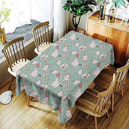 XXANS Large Rectangular Tablecloth,Tea Party,Polka Dots on Teapots and Cups Cupcake with Cherry on Top Teabag English,Dinner Picnic Table Cloth Home Decoration,W52x70L Almond Green -