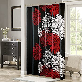Cheap Glam Fire Red Rose And Black Leaves Best Home Fashion High Quality Custom Fabric Bathroom
