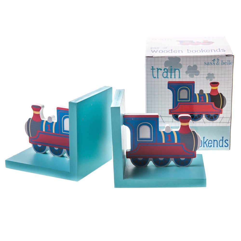 Pair of Train Wooden Bookends RJB Stone