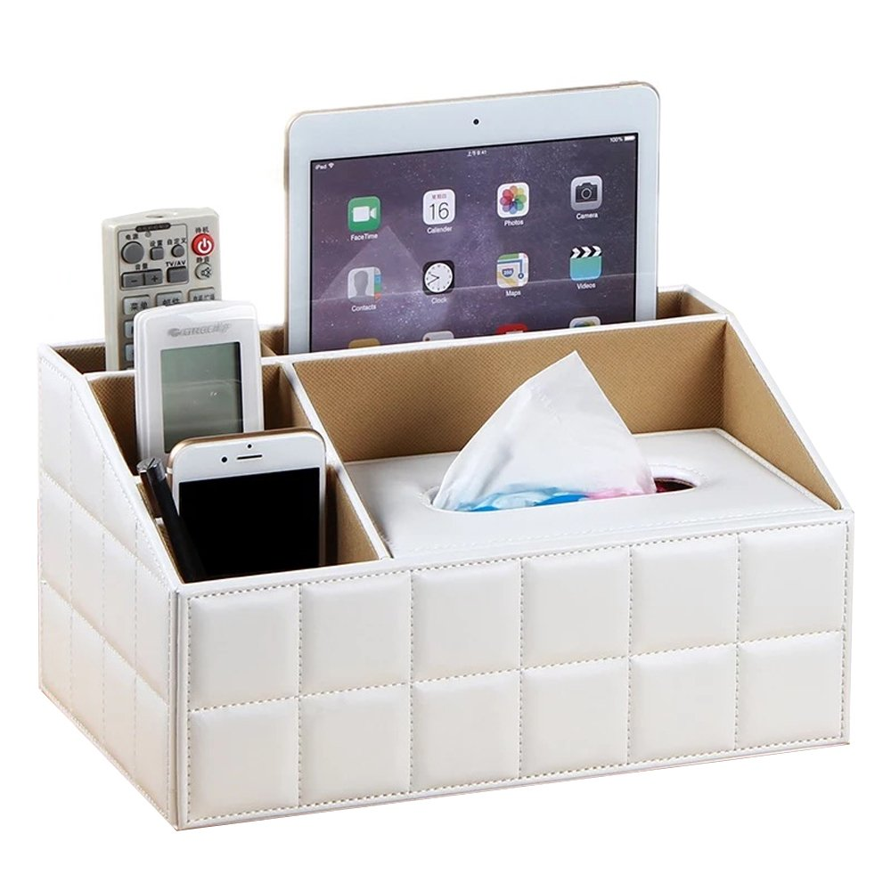UnionBasic Multifunctional PU Leather Office Desk Organizer Pad Notebook File Box Holder Business Card/Pen/Pencil/Mobile Phone/Stationery Holder Storage Organizer Small Tissue Box (Plaid White - New)