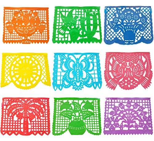 Papel Picado Plastic Banner (15 Feet Long) Mexican Papel Picado Banner Mexican Party Supplies, Coco party, Coco movie, Design as Pictured by GORDENUSA