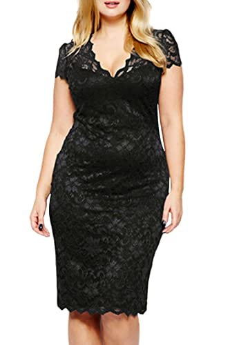 Veroge Womens Plus Size Scalloped V-neck Floral Lace Evening Party Midi Dress