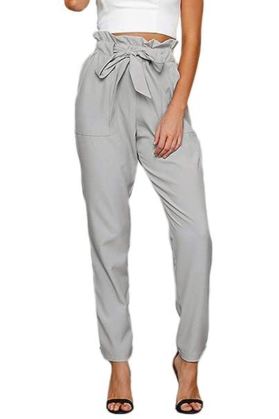 Mujer Primavera Verano Elegantes Moda Pantalones De Tela con Bolsillos Elastische Taille Bandage con Lazo Modernas Casual Cintura Alta Slim Fit Largos ...