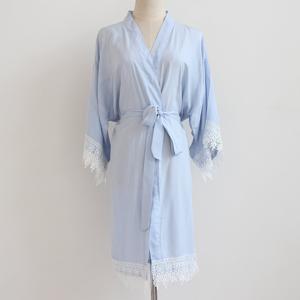 Light Blue Women Kimono Robe(with lace trims)-Bridesmaid Kimono Robe-bridesmaid Gift-wedding party bridal party Gift