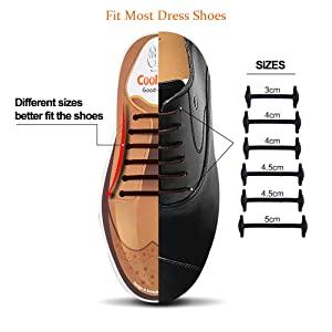 Coolnice No Tie Dress Shoe Laces for Men and Women, Silicone Waxed Thin Oxford Round Elastic Shoelaces (Color: Brown-mix, Tamaño: Mix)