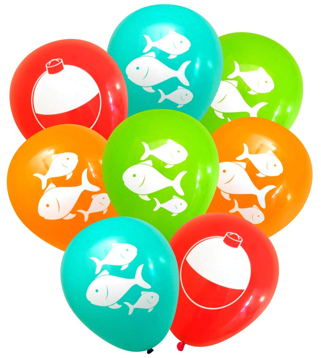 Nerdy Words Fish and Bobber Balloons (16 pcs) Fishing Party Decorations (Red, Orange, Aqua, Lime)