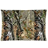 Custom Polyester Soft Rectangle Zippered Pillow Case Cover 12 x 20 Inches - Camouflage Camo Tree Hunter Dry Branches Leaves Oak Woodland Camo Vintage Retro Personalized Pillowcase