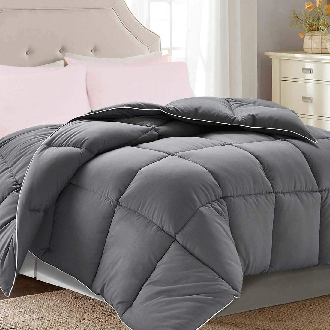 "Brermer Soft Queen Goose Down Alternative Comforter, All Seasons Puffy Warm Duvet Insert with 8 Corner Tabs, Luxury Reversible Hotel Collection, 88""x 88"", Grey"