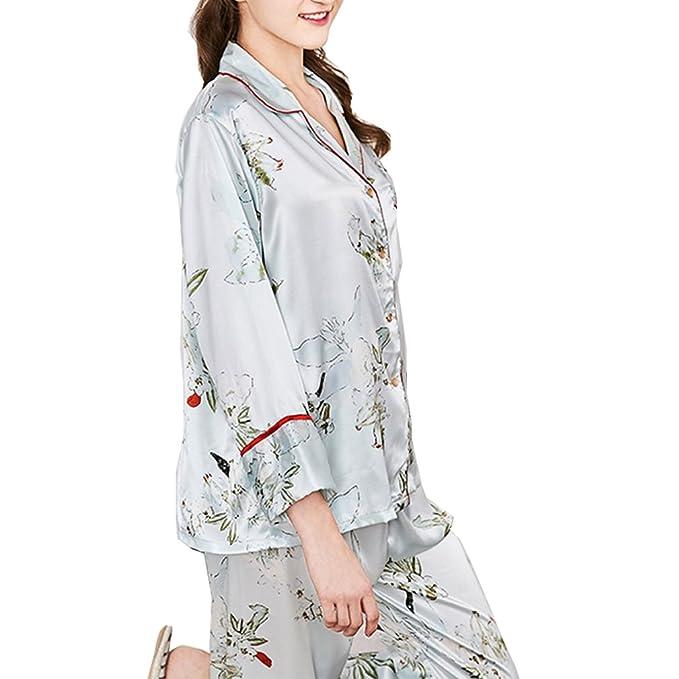 BOYANN Pijamas Mujer Primavera Otoño de Satén Ropa de dormir Azul M