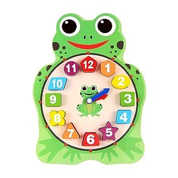 Animal de dibujos animados de madera Divertido lindo Puzzle Juguetes educativos Reloj digital para niños: Amazon.es: Bebé