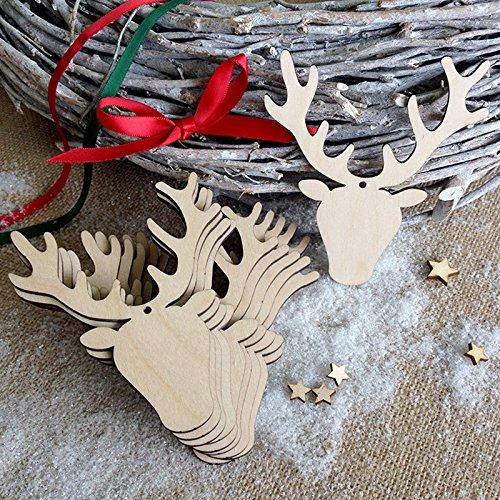 Zehui Wooden Handicraft Christmas Antler Shape Pendant Decoration for Christmas Other Festival 10Pcs (Antler Christmas Tree For Sale)