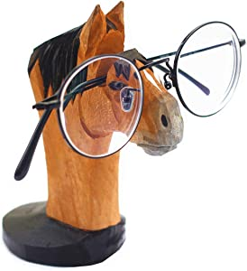 TANG SONG Creative Wood Hand Carved Eyeglass Holder Handmade Nose Horse Stand for Office Desk Home Decor Gifts