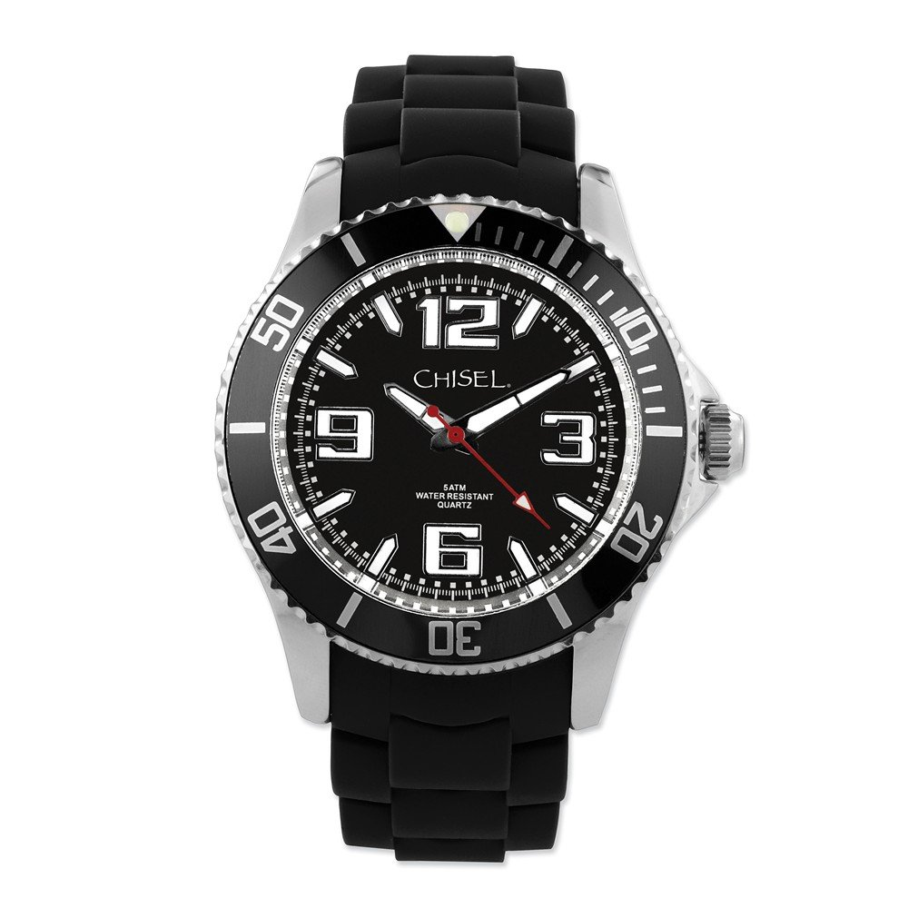 Chisel 44mm Black Silicone Strap Mens Watch