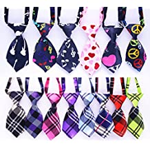 Yagopet 12pcs/pack New Pet Dog Neckties Fashionable Cool Businesse Plaid Set and Love Music Styles Dog Ties Adjustable Pet Grooming Products Dog Accessories Cute Gift