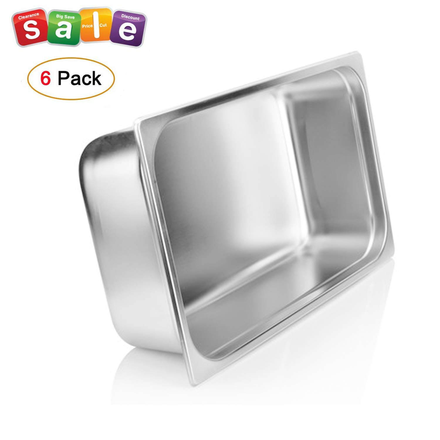 """4"""" Deep Steam Table Pan Full Size,Kitma 14 Quart Stainless Steel Anti-Jam Standard Weight Hotel GN Food Pans - NSF (20.87""""L x 12.8""""W)- 6 Pack"""