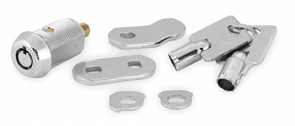 Different-Keyed Standard Keyed Cam Lock, For Door Thickness (In.): 13/16, Bright Nickel