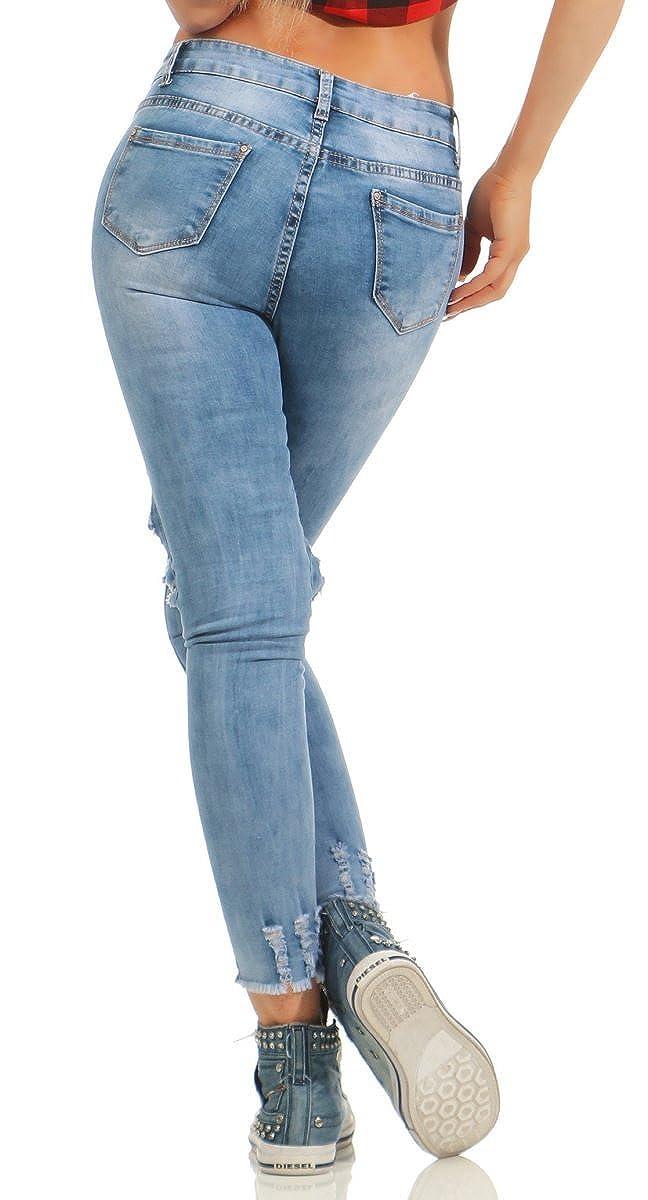 6bbb425cb08f Fashion4Young 5422 Damen Jeans Hose Röhrenjeans Cut-Outs Netz Stonewashed  Damenjeans Slimline Knöchellang (blau, S-36)  Amazon.de  Bekleidung