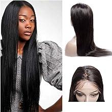 VIPbeauty Brazilian virgin Human Hair Straight Lace Front Wigs 130% Density Brazilian Human Hair Adjustable Wigs with Baby Hair for Black Women 10 inch