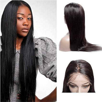 VIPbeauty - Peluca 100% no alterada, cabello liso con banda frontal, cabello Remy