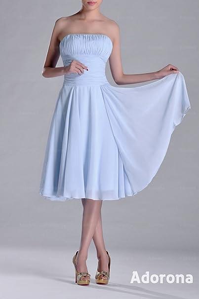 0f9288976626 Adorona A-line Strapless Knee Length Chiffon Bridesmaid Dresses: Amazon.co. uk: Clothing