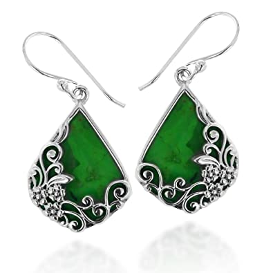 e8a677362e411 925 Oxidized Sterling Silver Decorative Green Turquoise Gemstone Triangle  Tear Drop Dangle Earrings