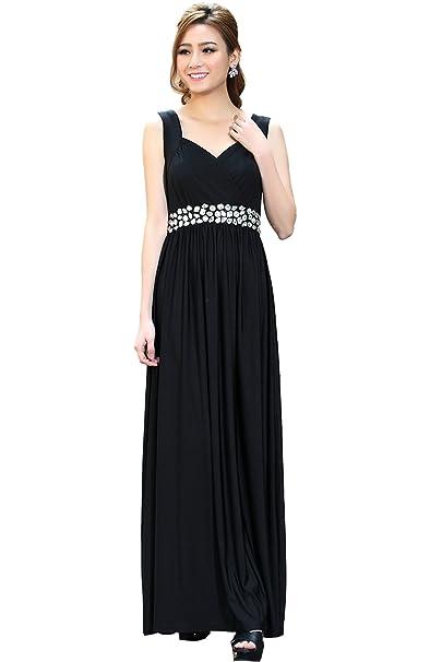 Medeshe negro suelo Longitud de la mujer formal vestido maxi fiesta de noche negro negro 36