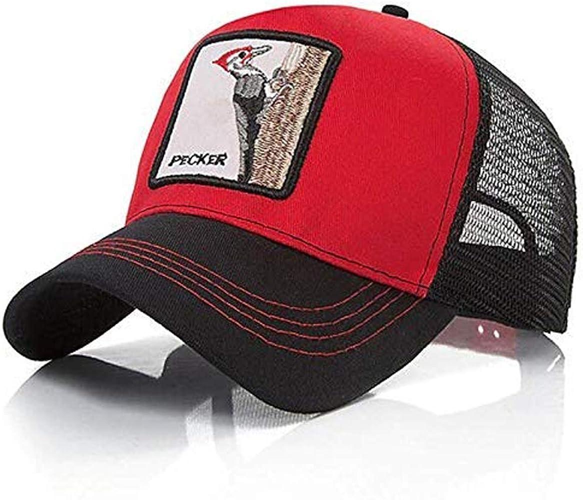 Gorra Visera Curva Trucker Animal Pajaro Carpintero roja y Negra ...