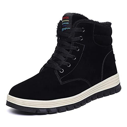 97047a55b52 Shinysky Mens Pig Leather Snow Boots Lace Up Ankle Sneakers High Top Winter  Shoes with Fur