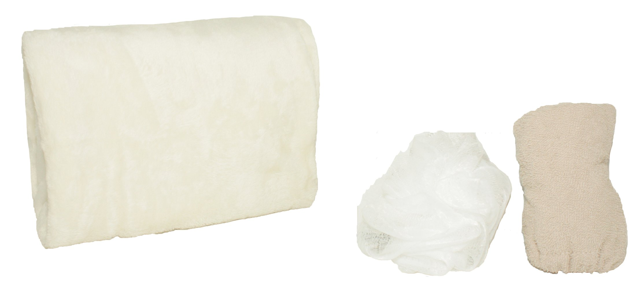 Adrienne Vittadini Women's 3 Piece Bath Body Plush Shower Towel Wrap Spa Set | Bath Body Towel Wrap with Adjustable Fastener, Hair Towel Twist, Loofah/Bath Body Sponge by Adrienne Vittadino (Image #2)