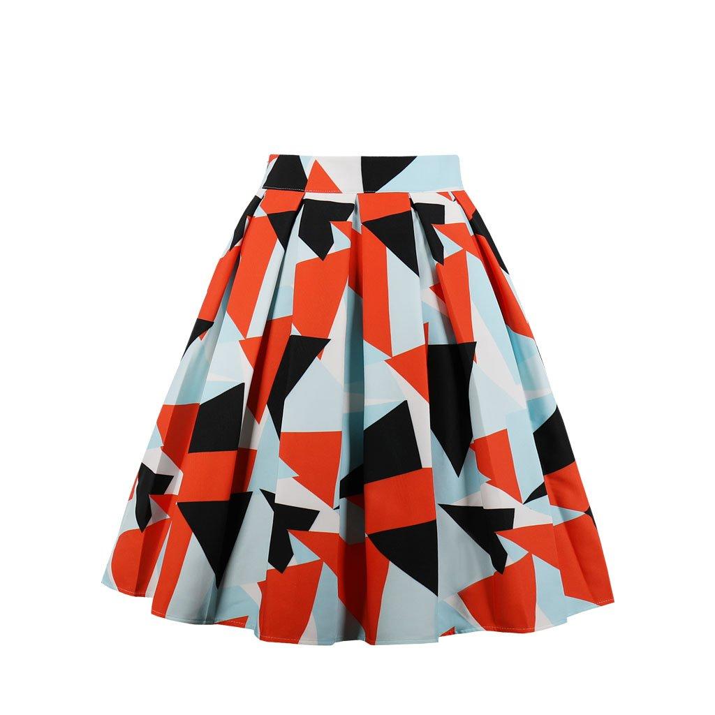 Cleaivy Women's Midi Pleated A Line Floral Printed Vintage Skirts (Orange Black Blue, Medium)