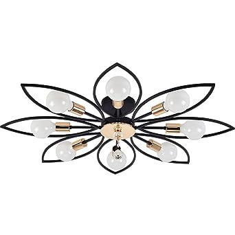 E27 Wohnzimmerlampe Schwarz Metall Deckenleuchte Modern Klassisch
