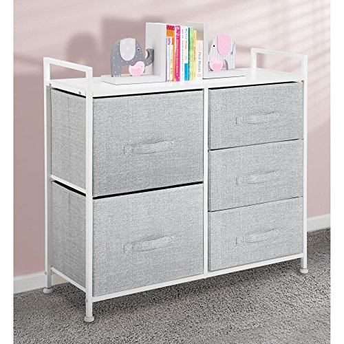 mDesign Fabric Narrow 5-Drawer Dresser and Storage Organizer Unit for Bedroom, Dorm Room or Small Living Spaces - Gray