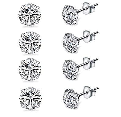 54c698059 4 Pairs Tiny 3mm Studs Earrings, Round Clear Cubic Zirconia Stud Earrings  for Sensitive Ears