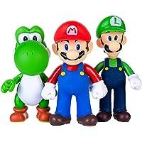AINOLWAY 3st/set Super Mario Toys – Mario & Luigi-figurer – Yoshi & Mario Bros actionfigurer Mario PVC-leksaksfigurer