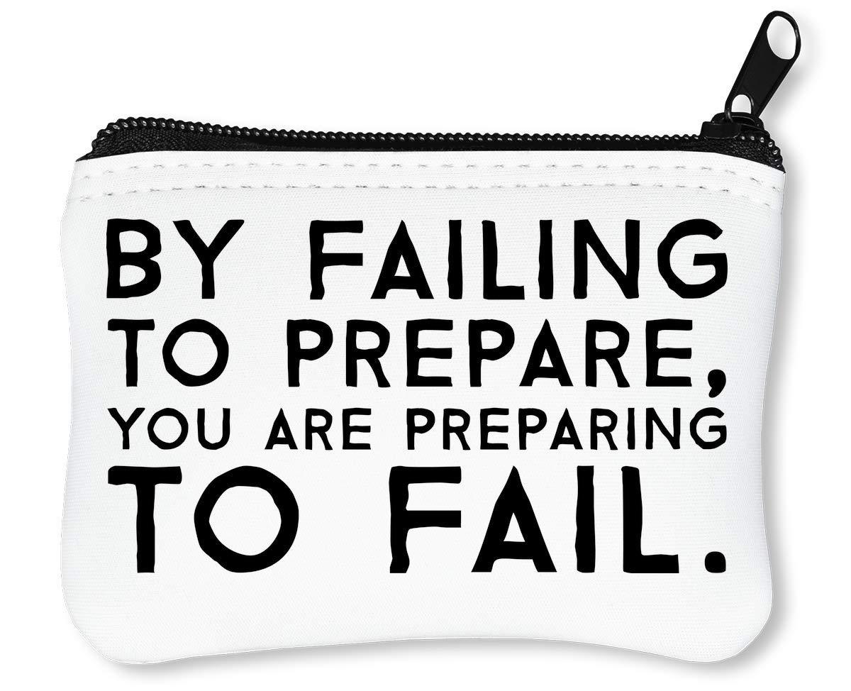 Preparing to Fail Benjamin Franklin Motivation Inspiration Quote Slogan Portefeuille à Glissière Porte-Monnaie