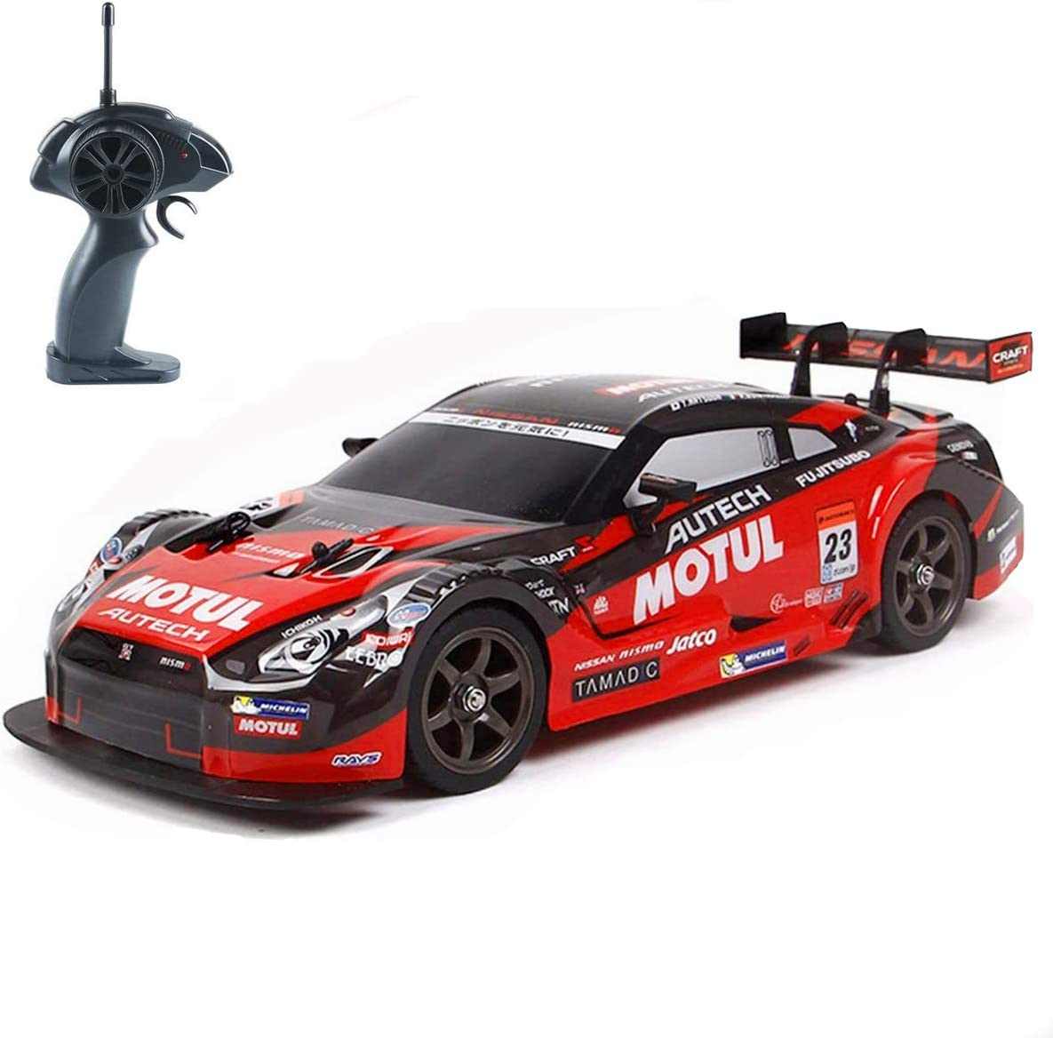 Amazon Com Super Gt Rc Sport Racing Drift Car 1 16 Remote Control Car For Adults Kids Gifts 4wd Rtr Vehicle With 6 Battery And Drift Tires Red Toys Games