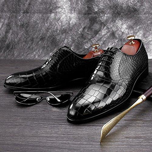 HWF Scarpe Uomo in Pelle Scarpe da uomo a punta in pelle stile inglese Scarpe da uomo in stile britannico da cerimonia (Colore : Nero, dimensioni : EU 41/UK7) Nero