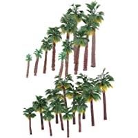freneci 24x Plastic Painted Mini Model Palm Trees Set for Architecture Street 6-20cm