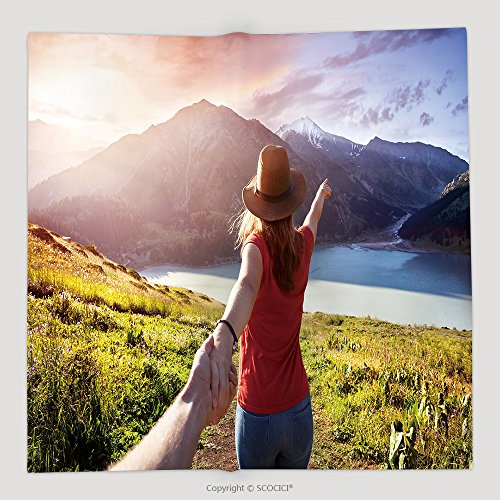 Custom Woman In Orange T Shirt And Hat Holding Man By Hand And Going To The Lake In The Mountains At 453985453 Soft Fleece Throw (Halloween At Freddy's Mlp)