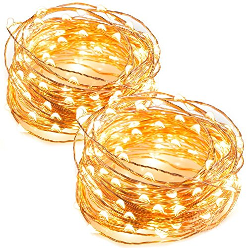 TaoTronics LED String Lights 33 ft with 100 LEDs, Waterproof Decorative Lights for Bedroom, Patio, Parties (Copper Wire Lights, Warm White)-2pack (Renewed)